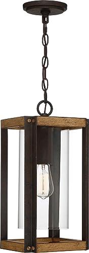 Quoizel MSQ1909RK Marion Square Outdoor Pendant Lantern, 1-Light 150 Watt, Rustic Black