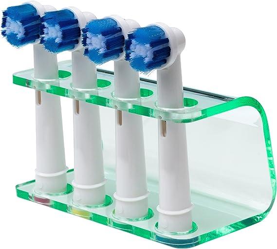 Soporte de cabezal de cepillo de dientes el/éctrico Seemii para 2/o 4/cabezas de cepillo de dientes 4 Head Holder natural transparente acr/ílico verde encaja ORAL-B cabezas pl/ástico entrega gratuita Reino Unido