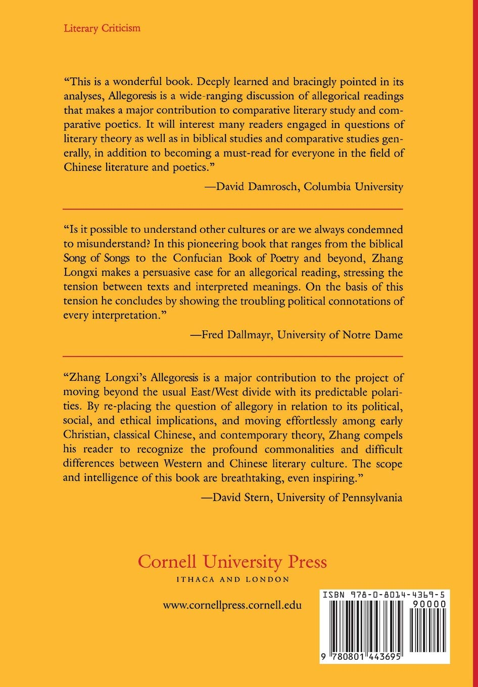 Amazon.com: Allegoresis: Reading Canonical Literature East and West  (9780801443695): Zhang Longxi, Longxi Zhang: Books