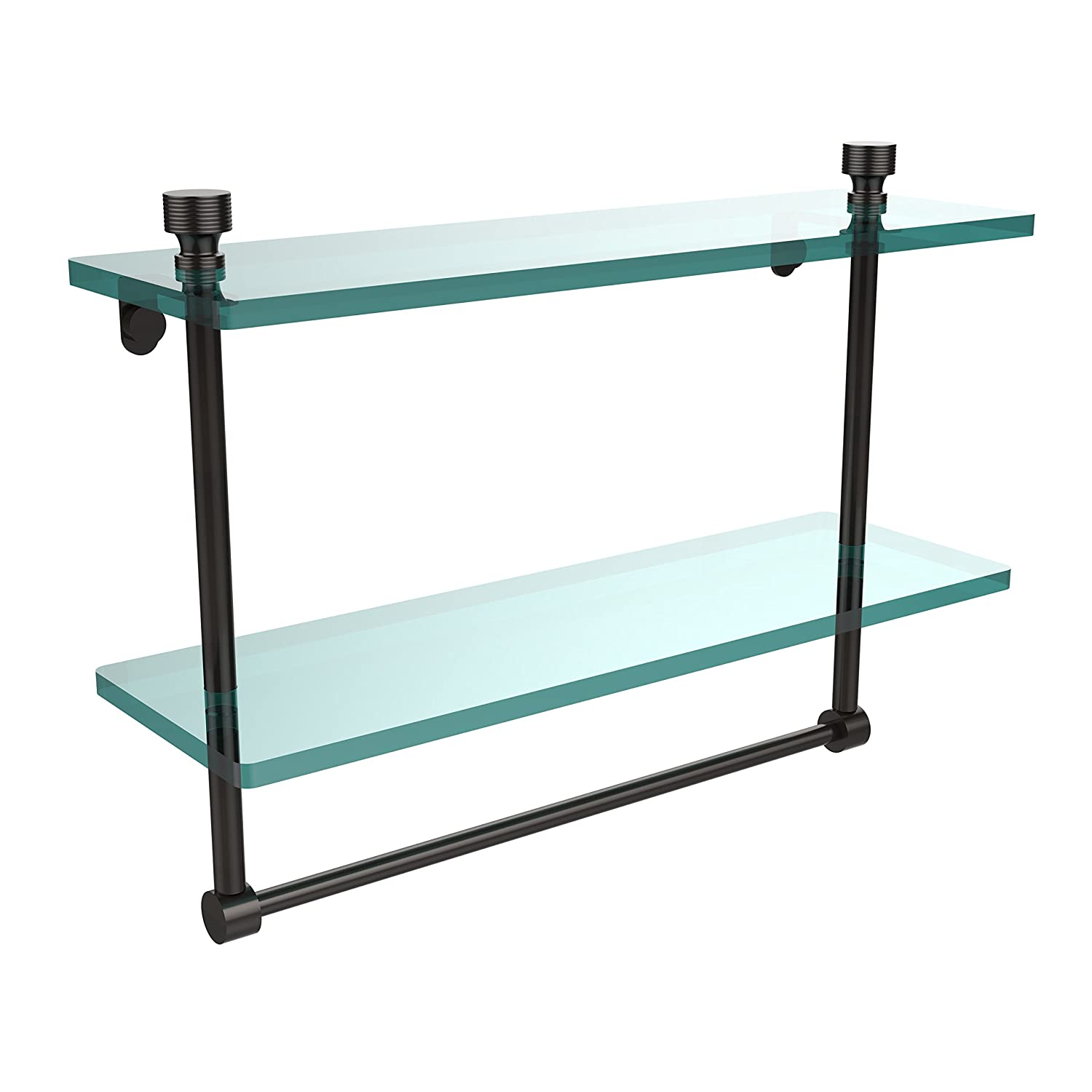 Allied Brass FT-2//16TB-BBR Foxtrot Collection 16 Inch Two Tiered Glass Shelf with Integrated Towel Bar Brushed Bronze