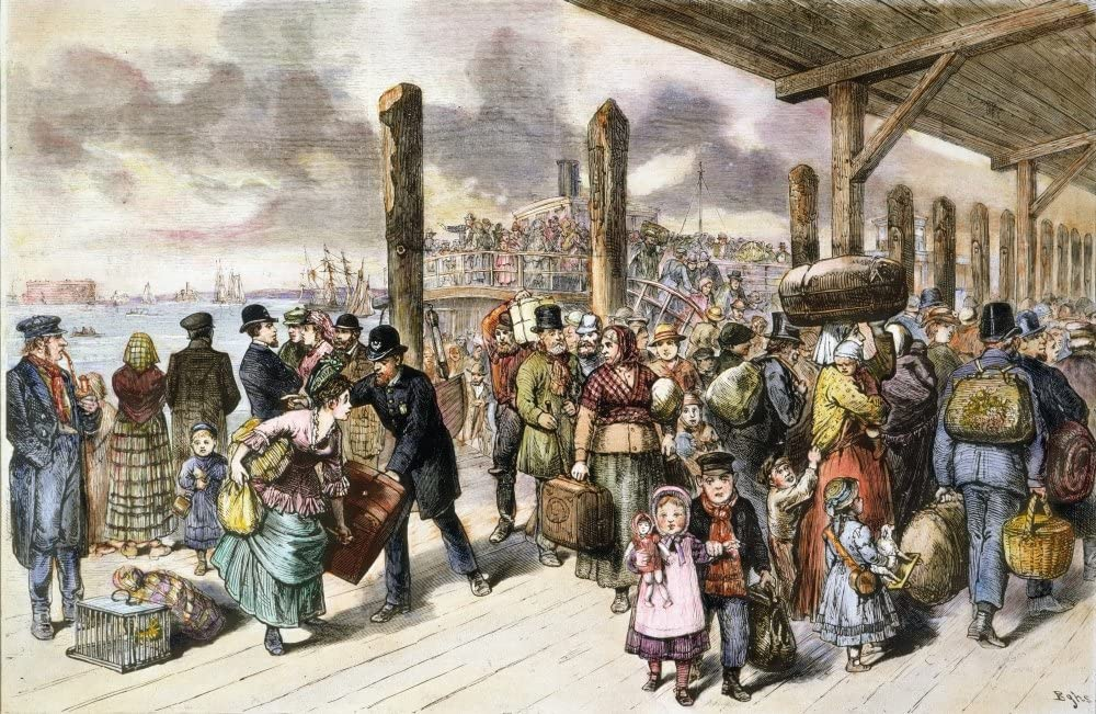 Immigrants Castle Garden Neuropean Immigrants Landing On The Wharf At Castle Garden New York City 1878 Poster Print by (24 x 36)