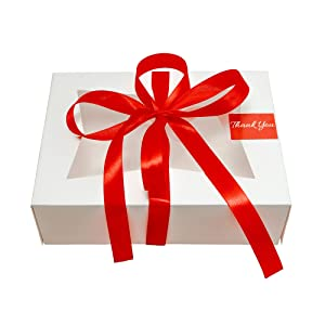 Zaylin Haut Cookie Boxes for Gift Giving- 22 Pack White Bakery Boxes with Window for Chocolate Covered Strawberries Cupcakes Gift Packaging Disposable 6x8x2.5 Inches Includes 1 Ribbon Roll and 22 Thank You Stickers
