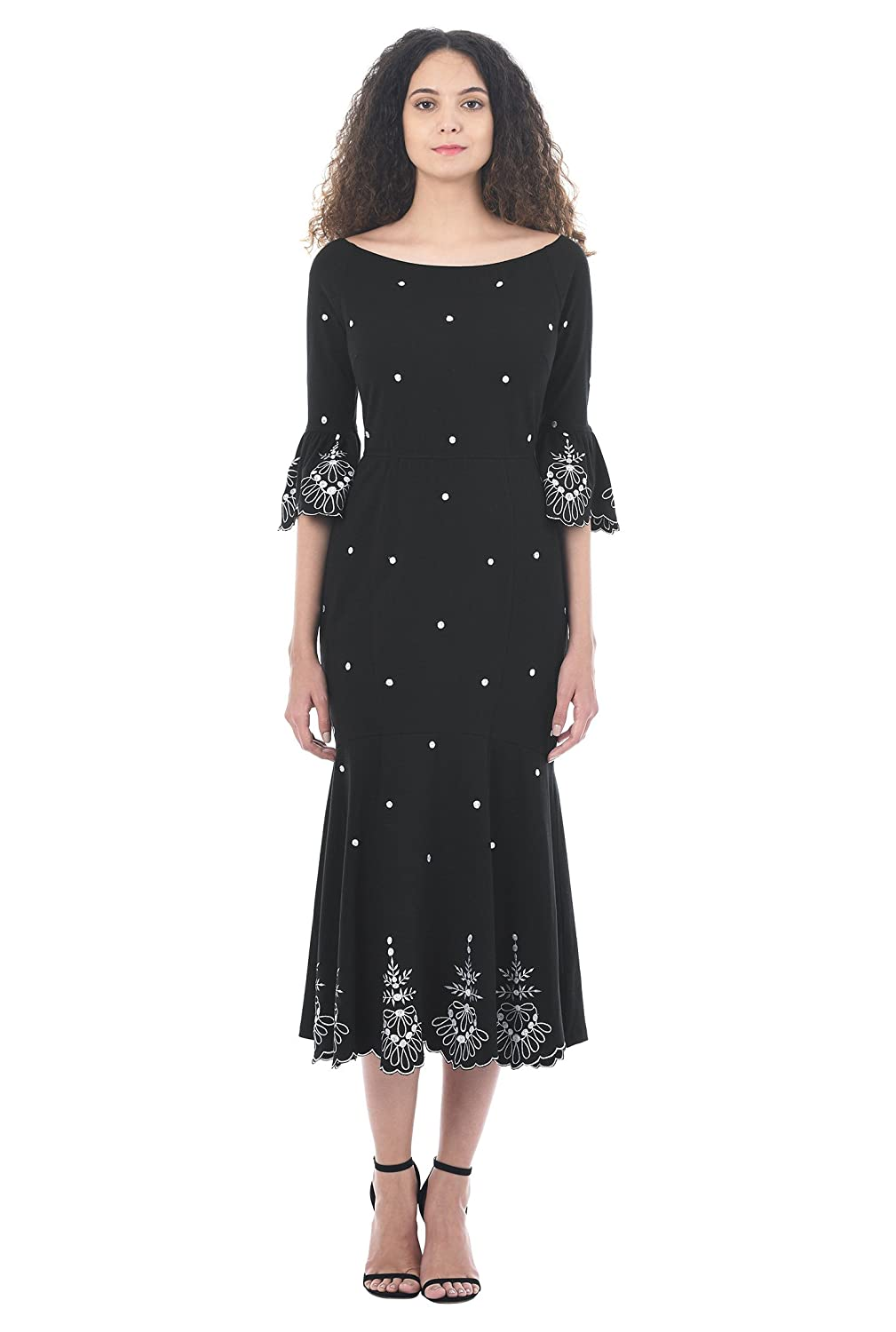 1930s Style Fashion Dresses eShakti Womens Floral Embellished Cotton Knit Dress $59.95 AT vintagedancer.com