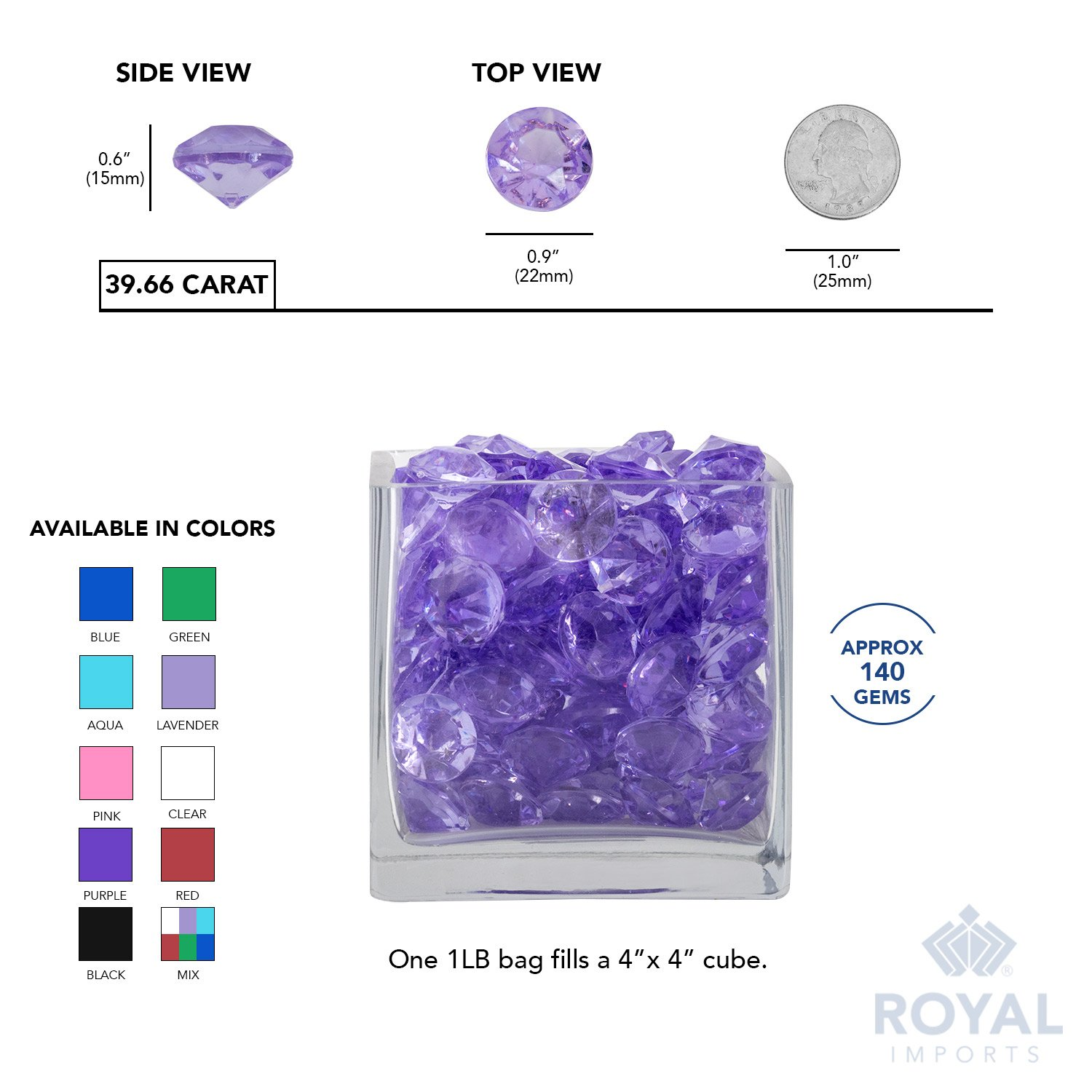 Acrylic Diamonds Gems Crystal Rocks for Vase Fillers 3 LB Bag, Gold Party Decoration Party Table Scatter Crafts by Royal Imports Photography Wedding