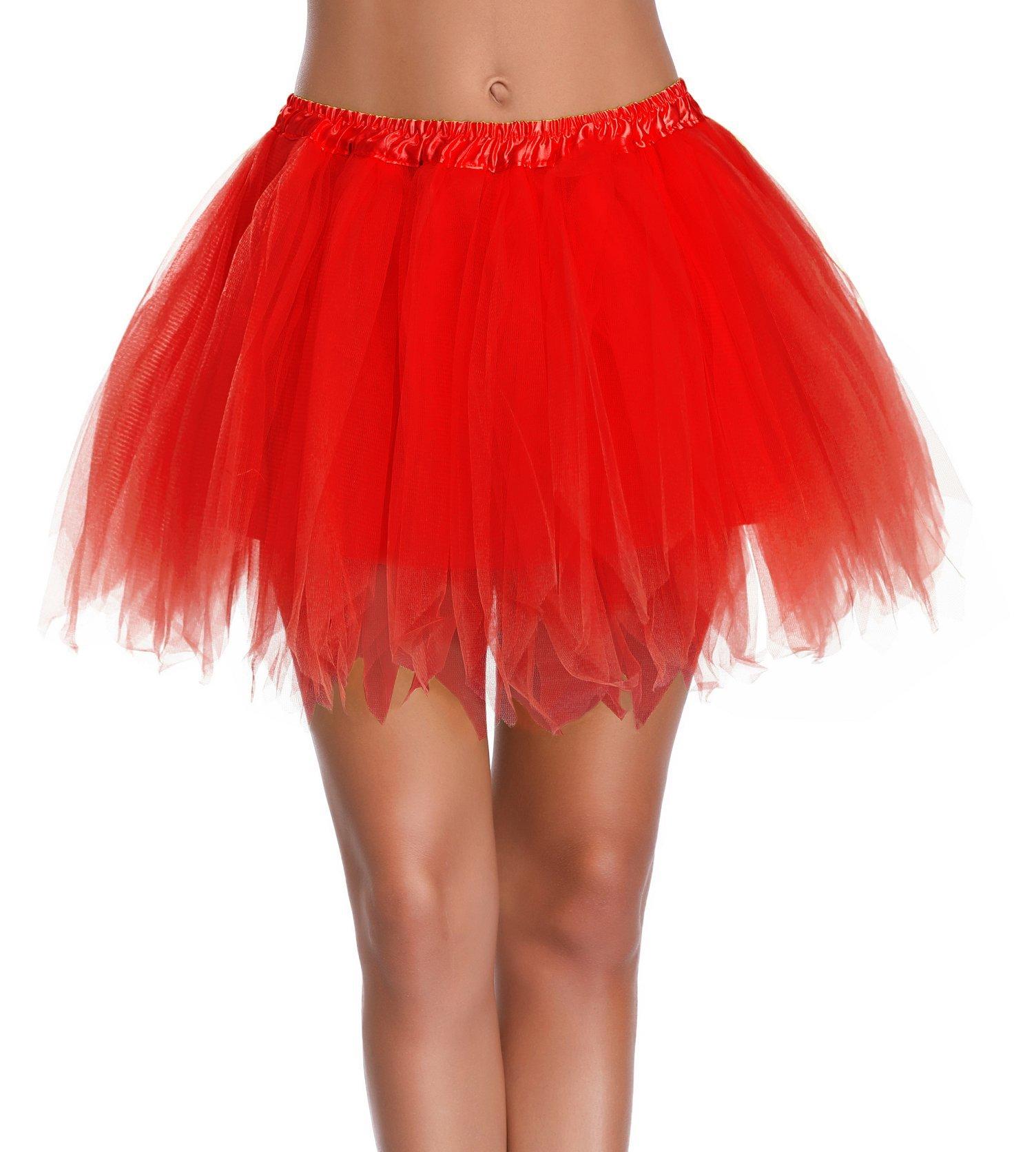 V28 Women's Teen's 1950s Vintage Tutu Tulle Petticoat Ballet Bubble Skirt (Regular Size (US: 0-12), Red)