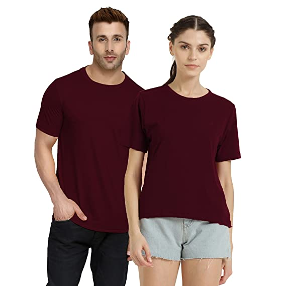 94fc75672ee CHKOKKO Casual Couple Tshirt Plain Polo Round Neck Half Sleeve for Men and  Women