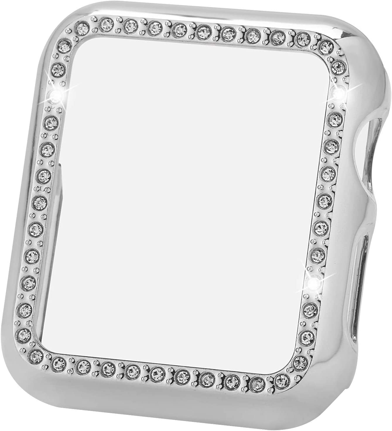Greaciary Sparkle Compatible with Apple Watch 44mm,Compatible with iWatch Face Bling Crystal Diamond Plate Cover Protective Frame for Apple Watch 5/4 Women(Rhinestone-Silver, 44mm)