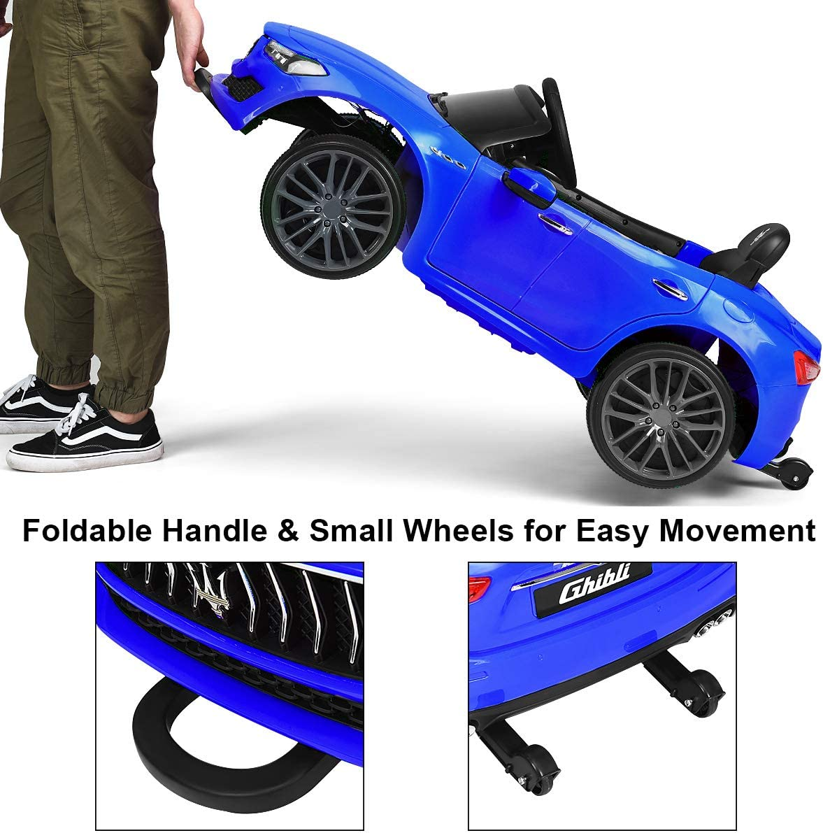 Blue MP3 LED Lights Costzon Ride on Car Licensed Maserati Gbili 12V Rechargeable Battery Powered Electric Car w// 2 Motors Parental Remote Control /& Manual Modes