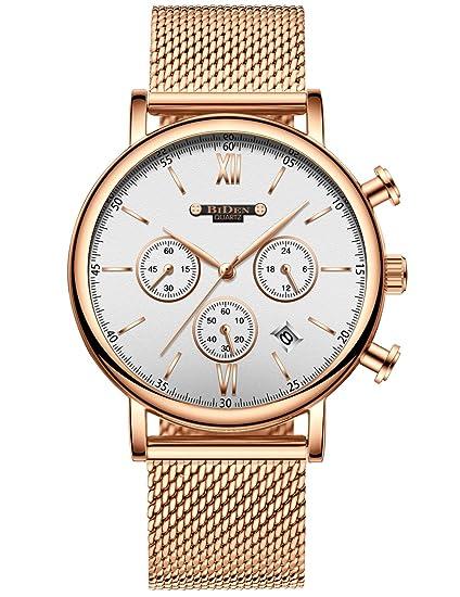 Para hombre cronógrafo relojes de pulsera impermeable moda lujo vestido malla de acero inoxidable FECHA calendario