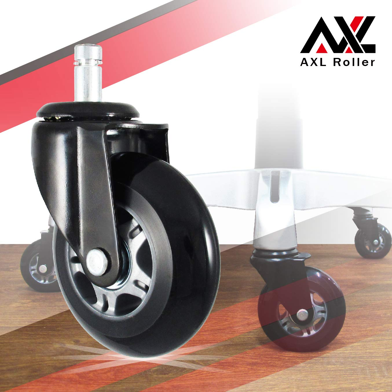 AXL 3 Inch Office Chair Caster Extra Heavy Duty Skate Roller PU, Big Monster Bracket, Safe for All Floor Hardwood, Noise-Free, Perfect Replacement for Desk Chair Mat, Universal Fit (Grey/Black)