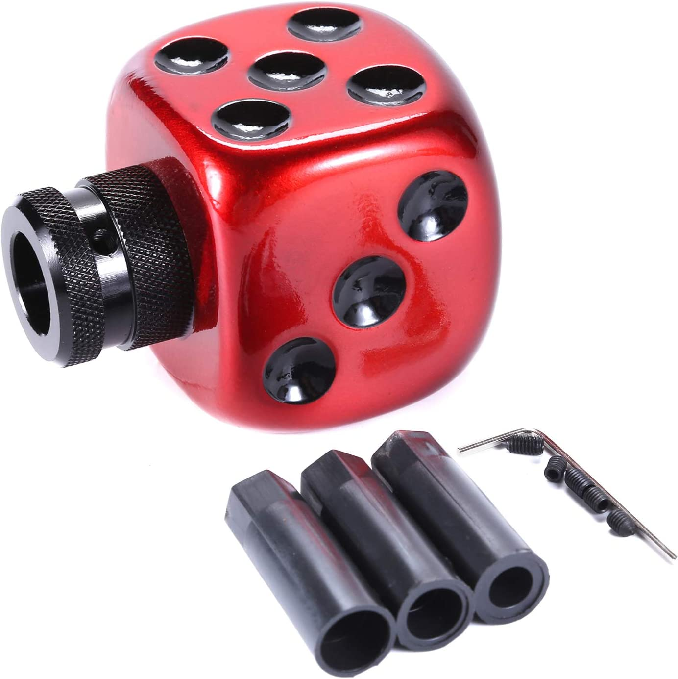 Red Bashineng Gear Knob Head Dice Style Stick Shift Shifter for Most Manual Automatic Cars