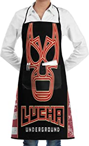 GIKIM Unisex Bib Apron with Pockets Lucha Underground Logo Waterproof Chef Aprons for Cooking,Home Kitchen,Restaurant,BBQ,Painting,Coffee House for Christmas Stocking Stuffer,Thanksgiving