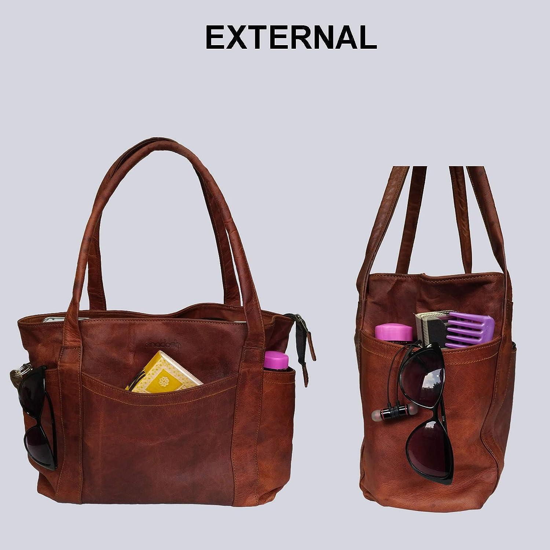 Mad Over Shopping Sac /à bandouli/ère femme Fourre-tout en cuir marron Sac /à provisions pour tous les jours