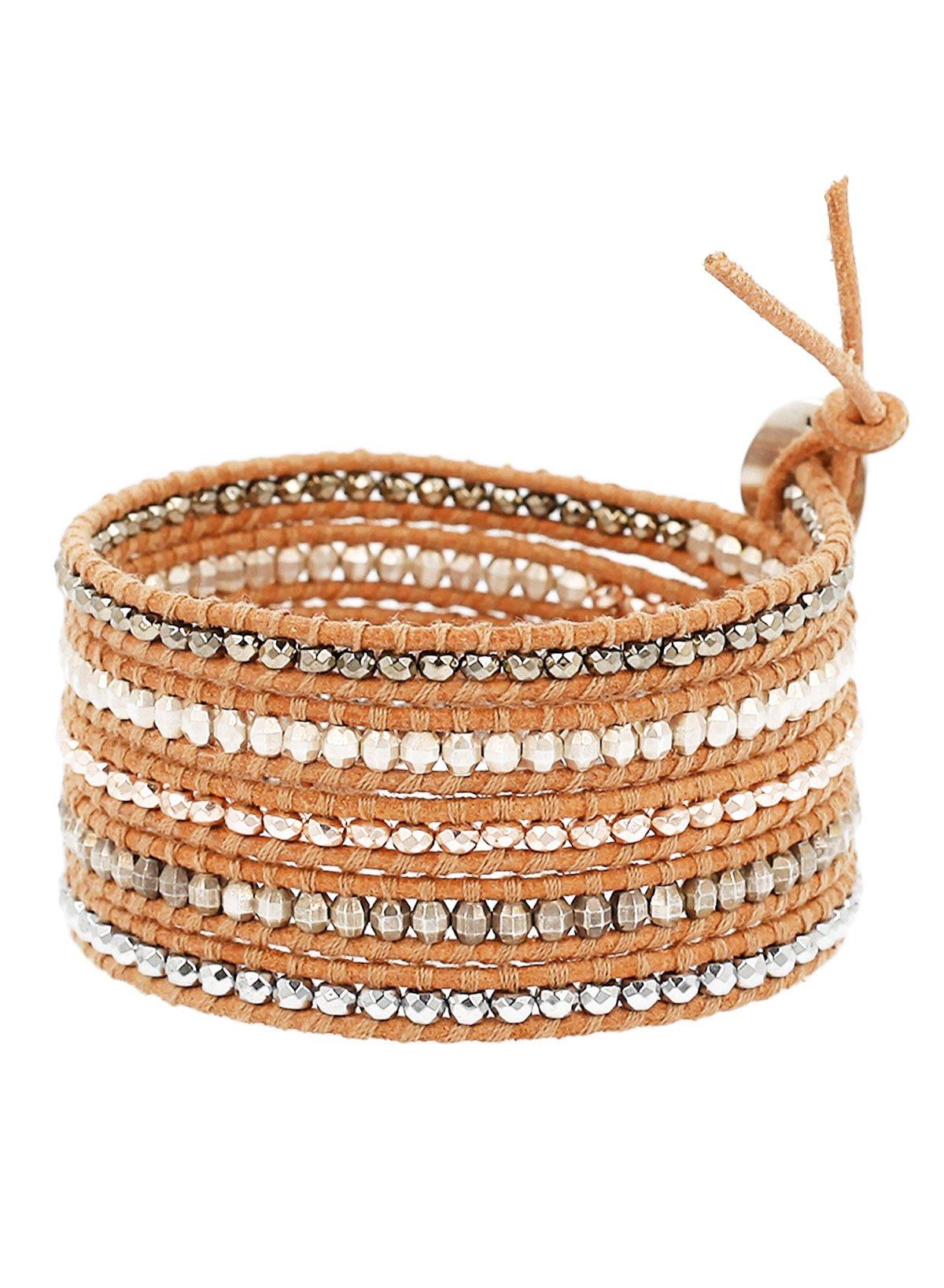 Chan Luu Hematine Mix Wrap Bracelet on Beige Leather by Chan Luu