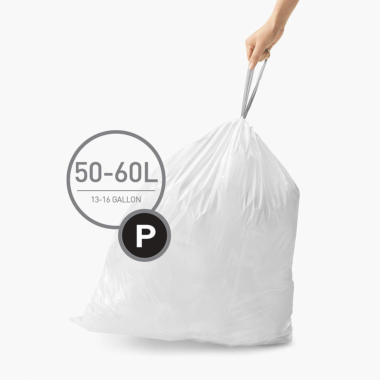 Simplehuman Code P Trash Bags 20 Drawstring Custom Fit Can Liners 50-60L Garbage