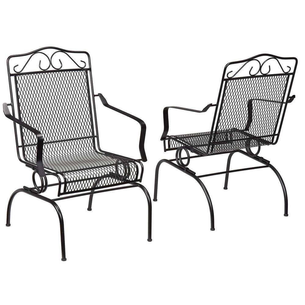Amazon com nantucket rocking metal outdoor dining chair 2 pack garden outdoor