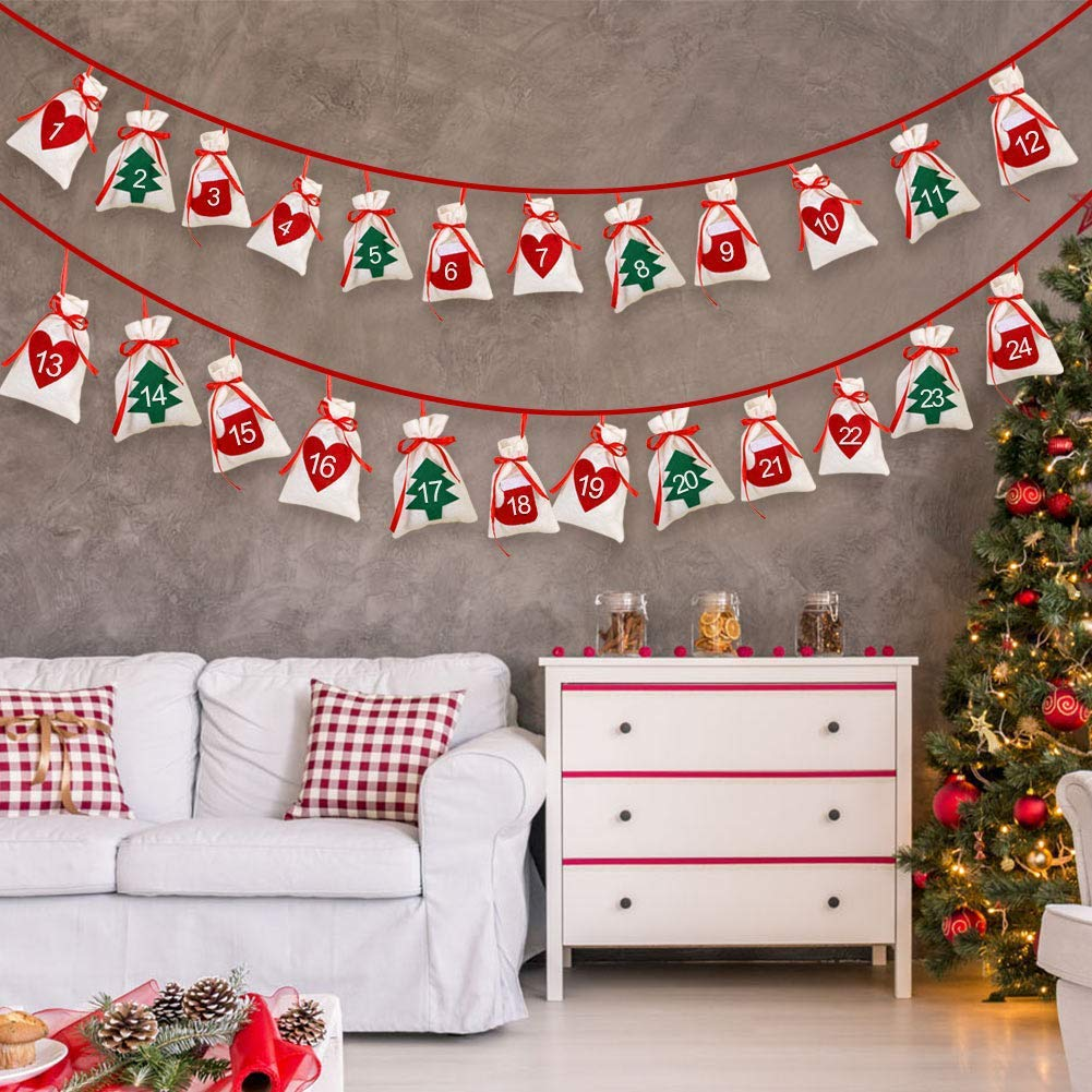 Nouvel an Queta Calendrier de lAvent Guirlande de Chiffre 1-24 Pochettes Cadeaux Sacs /à Cordon pour No/ël 11x16 CM