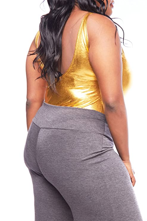 0f851f49fad9 GENx Womens Plus Size Sexy Solid Sleeveless Bling Tank Back Open Bodysuit  1762 (XL, Gold) at Amazon Women's Clothing store: