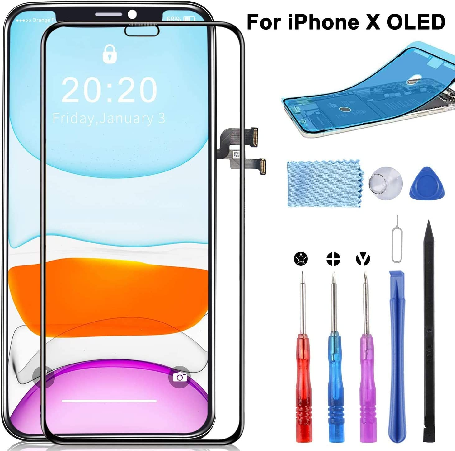 NOT LCD YPLANG Screen Replacement for iPhone X Screen Replacement OLED Display 3D Touch Digitizer Frame Assembly Full Repair Kit