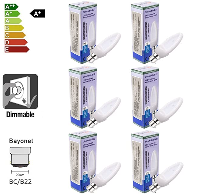 Bombilla LED de la marca Allcam, luz regulable, 4 W, base B22,