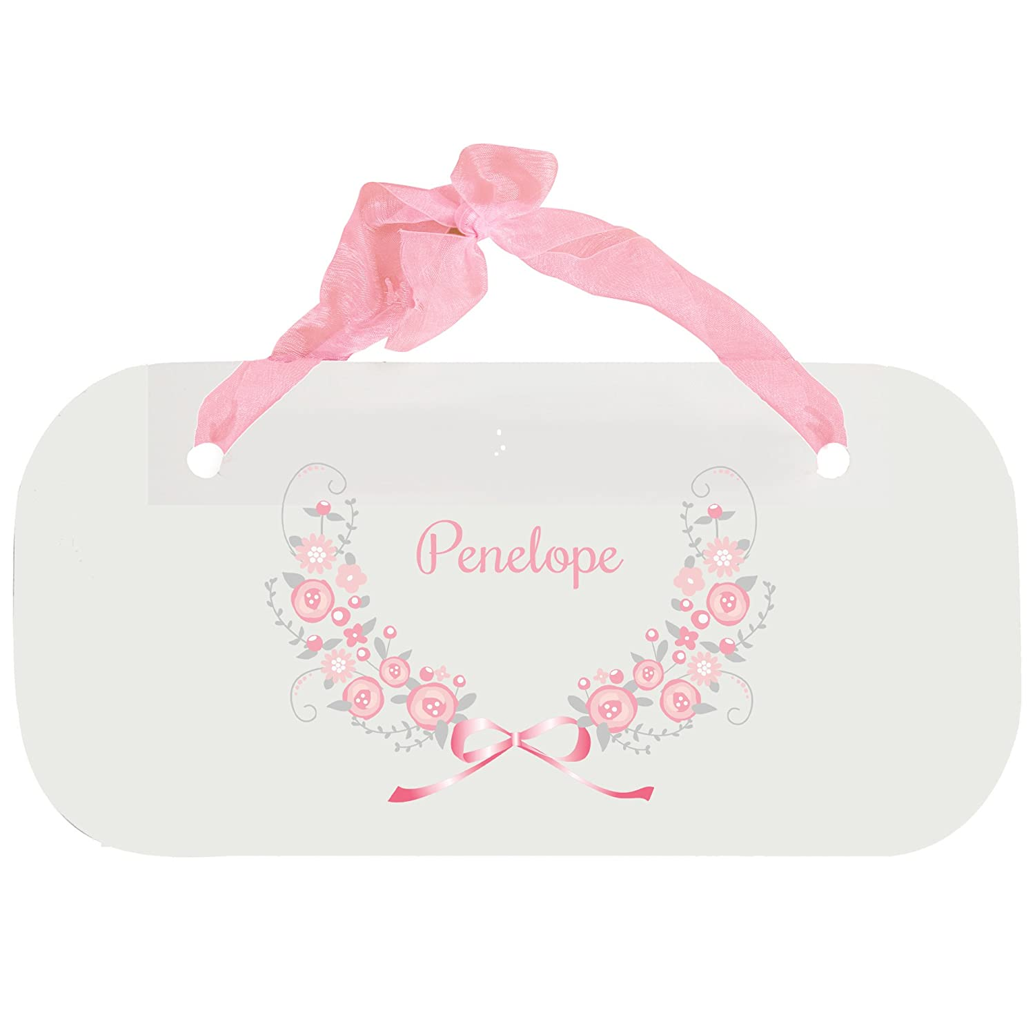 Personalized Pink Gray Floral Garland Nursery Door Hanger Plaque with pink ribbon MyBambino