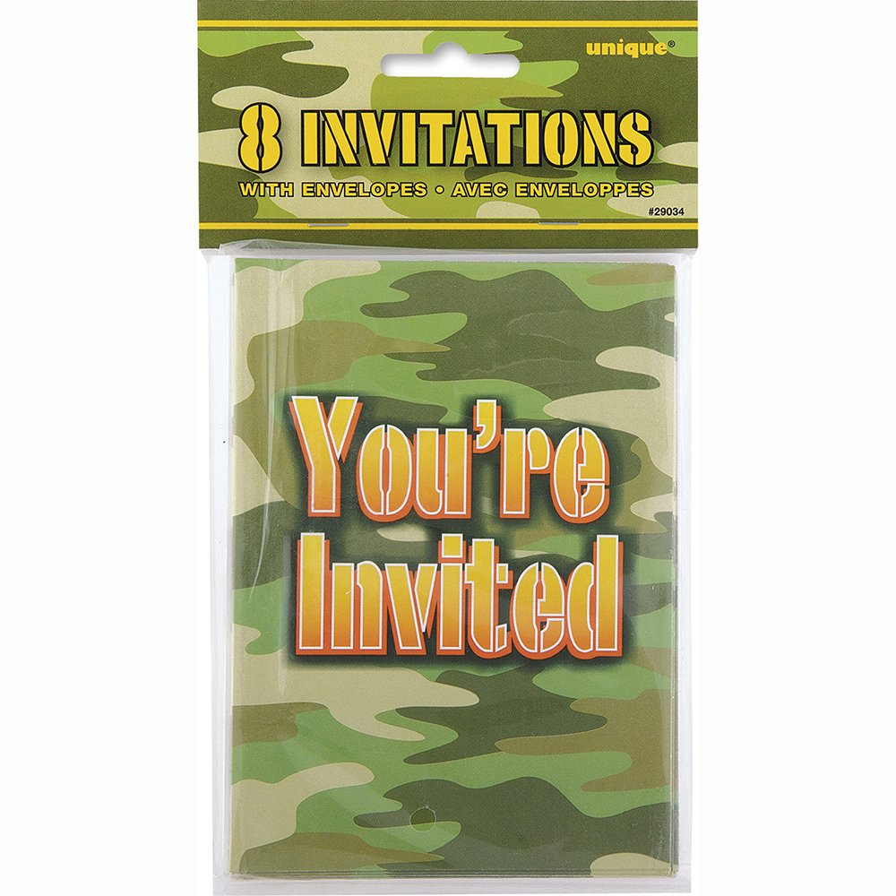 Amazon.com: Camo Party Invitations, 8ct: Childrens Party ...