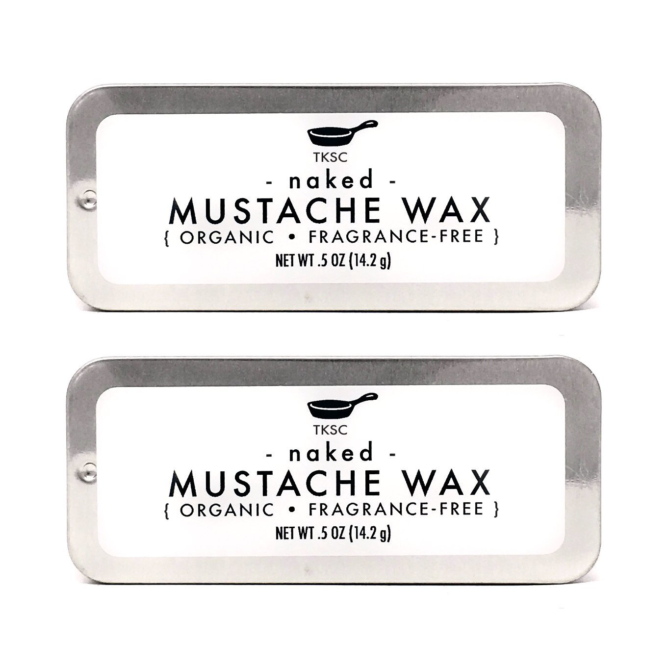 Mustache Wax - Naked (Fragrance-free) Handmade with Organic Ingredients (2 Pack) by Tiny Kitchen Soap Co.