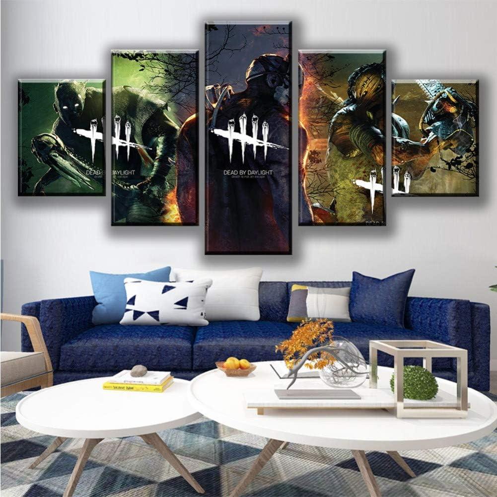 Mxsnow 5 Leinwanddrucke Rahmen Wandbilder Wohnkultur HD Anime-Cartoon-Spiel Dead by Daylight Pictures Prints Poster Drucke Auf Leinwand
