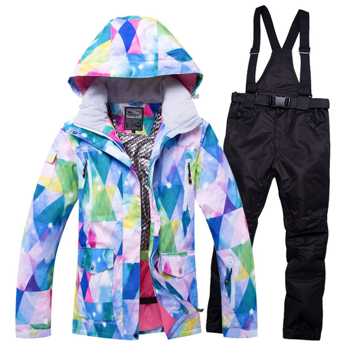 Snow 7 REWANGOING Women's Ski Bib Suit Winter Warm Jacket Waterproof Snowboard colorful Printed Ski Jacket and Pants Set