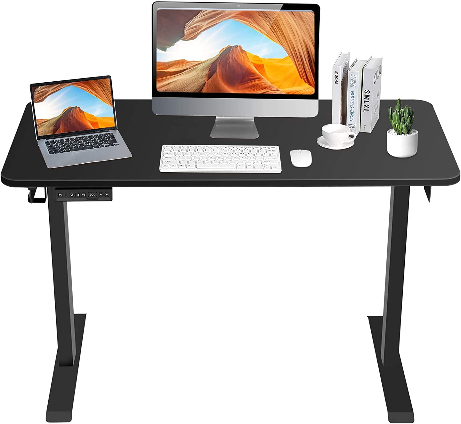 ELEFU Electric Standing Desk, 48 x 24 Inches Adjustable Height Desk with Whole Piece Desktop, Quick Assembly, Ergonomic Memory Controller, Ultra-Quiet Adjustment, Sit Stand Home Office Desk, Black