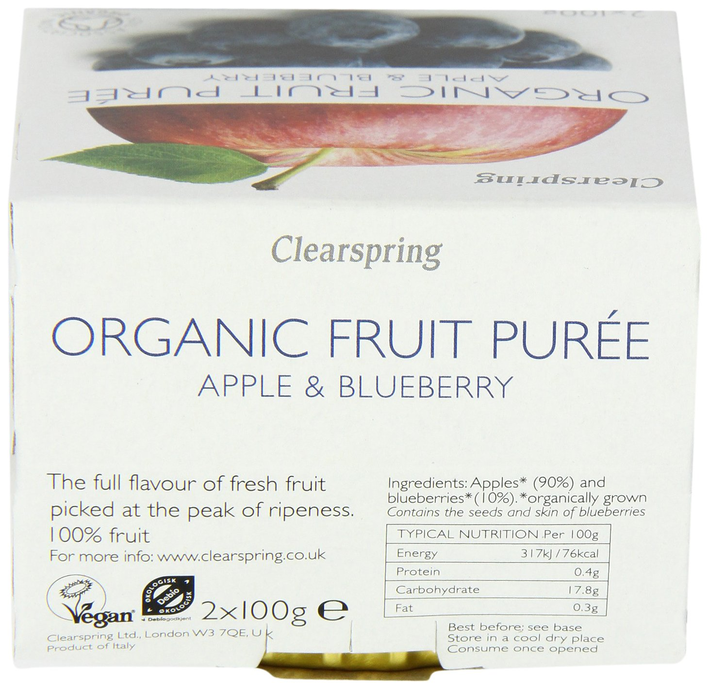 Clearspring Organic Apple and Blueberry Fruit Puree 2x100 g (Pack of 12)