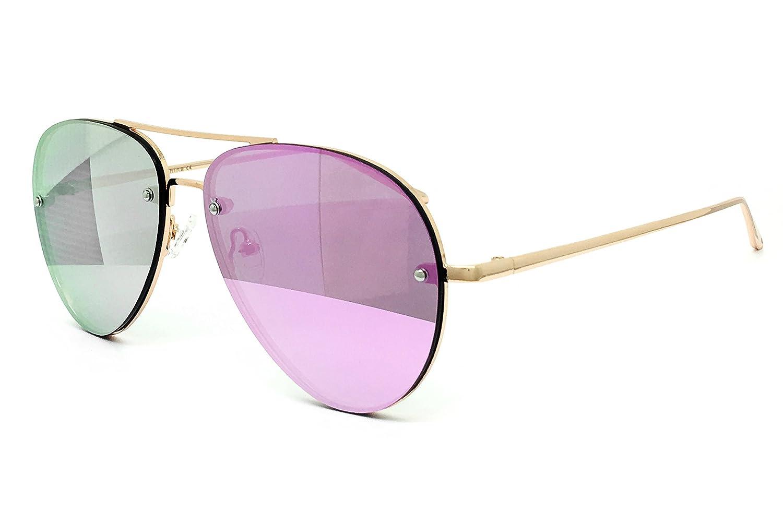 O2 Eyewear 7191-1 Premium Oversized Flat Rimless Aviator Mirrored Metal Sunglasses