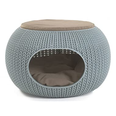 Keter 22.7  x 22.3  x 13  Knit Cozy Luxury Lounge Bed & Pet Home with Cushions, Small to Medium