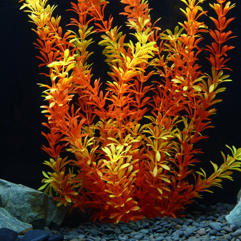 OWIKAR Aquarium Plants High Imitation Aquatic Plants Yellow Lifelike Stratified Fish Tank Artificial Decor Landscape Plastic Water Plants 11.8inch 15.7inch 19.7inch Large Size (50cm/19.7inch)