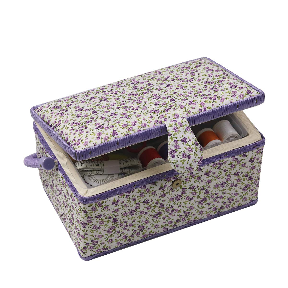 Ideal for Needles Sewing Supplies Organizer Sewing Kit Storage Container Sewing Basket Tape Measure Scissor Purple Thimble and Other Sewing Accessories Thread