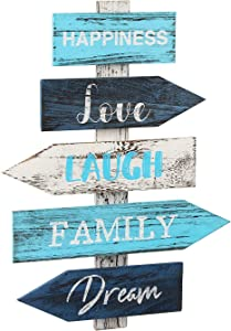 J JACKCUBE DESIGN Hanging Blue Wall Home Decor Signs Rustic Wooden Art Decorative Vertical Art Wall Decoration Home Decor for Kitchen Living Room Dining Room or Bedroom - MK645A