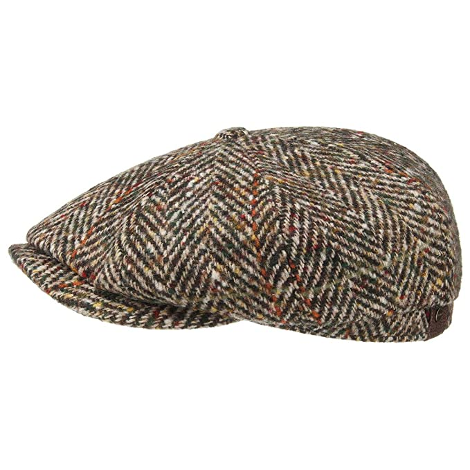 fc80ee32 Stetson Hatteras Herringbone Flat Cap Men | Made in The EU Newsboy Winter  with Peak, Lining Autumn-Winter: Amazon.co.uk: Clothing