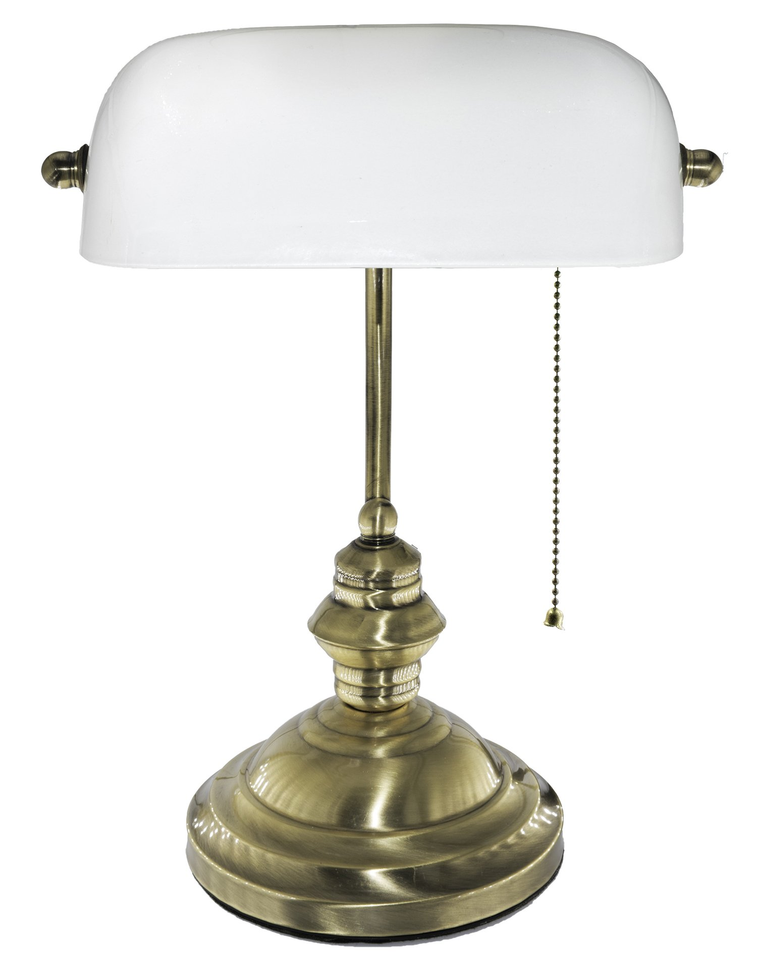 RUDY Bankers Desk Lamp 15''H, White Glass Shade with Brushed Gold Finish Brass Base by RUDY (Image #2)