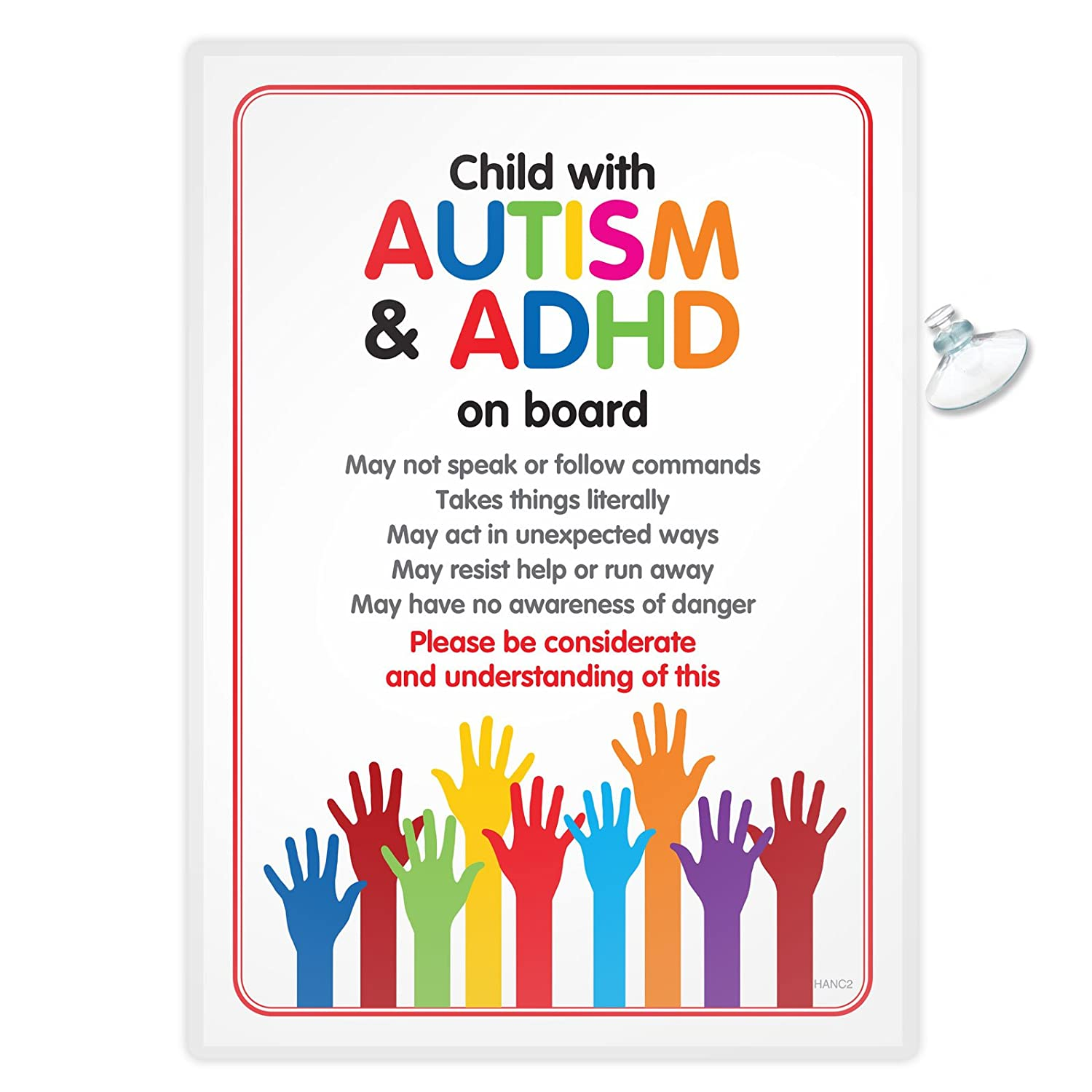 Funky Monkey House Autism Car Sign DISABILITY ADHD SEN Awareness Sign for Emergency services HANC2