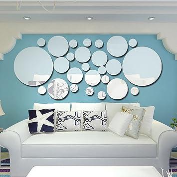 Azanaz 26 Stück Spiegelfliesen Selbstklebend Rundkreis Spiegel Wandspiegel Wandspiegel Fliesenspiegel Klebefliesen Wandaufkleber Aufkleber Diy Zum