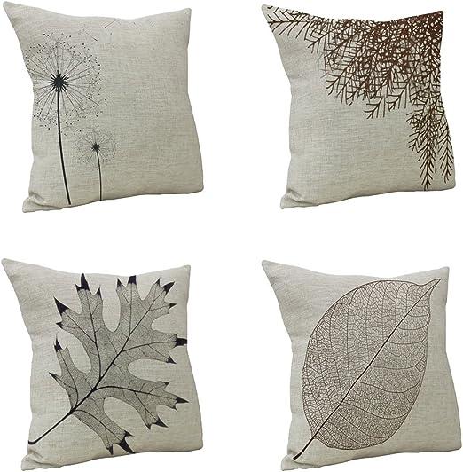 Nunubee - Fundas de almohada de lino y algodón, 45 x 45 cm, fundas ...