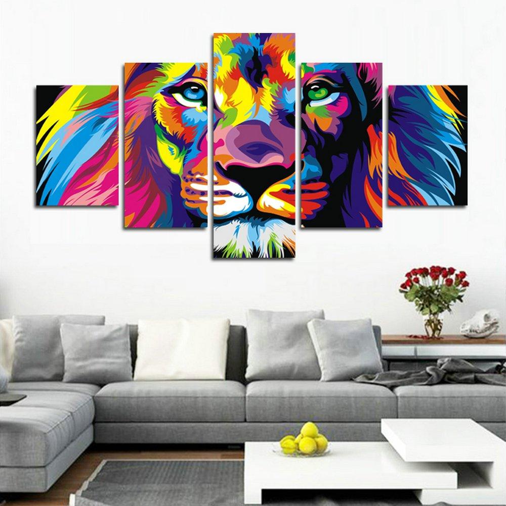 5 pi/èces Lion Impression Gicl/ée sur Toile Photo sur Toile de Tendue sur Ch/âssis en bois Tableau Artistique Contemporain CyioArt Image D/éco dArt Murale Pr/êt /à Accrocher
