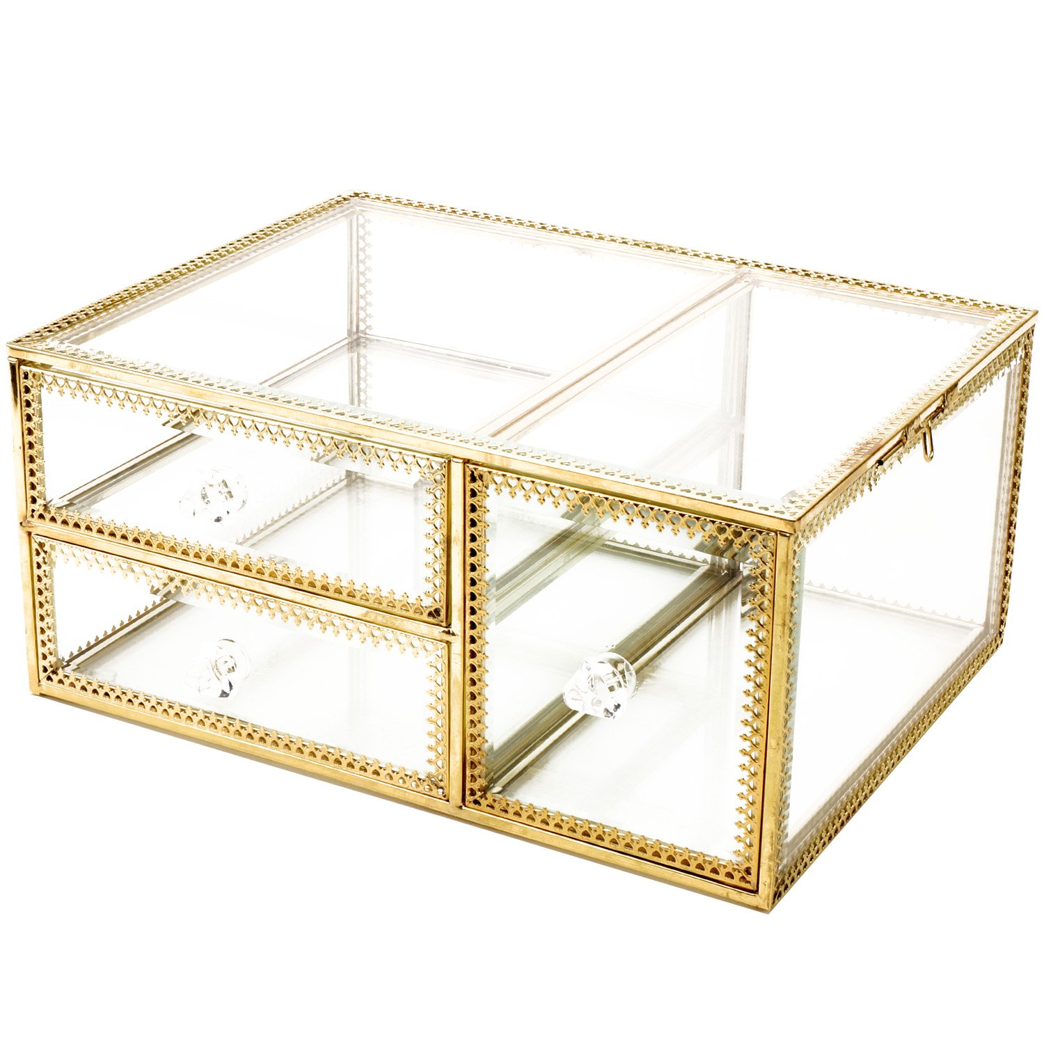Antique Beauty Display Clear Glass 3Drawers Palette Organizer,Cosmetic Storage, Makeup Container 3Cube Hoder/Beauty Dresser Vanity Cabinet Decorative Keepsake Box