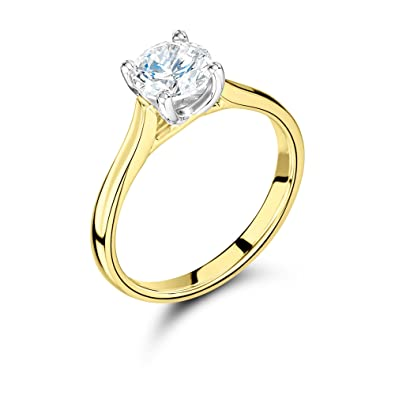 760da474a03ef ABELINI 1 10 Carat Certified I1 HI 100% Natural Round Solitaire Diamond  Engagement Rings for Women in 9K Yellow Gold  Amazon.co.uk  Jewellery