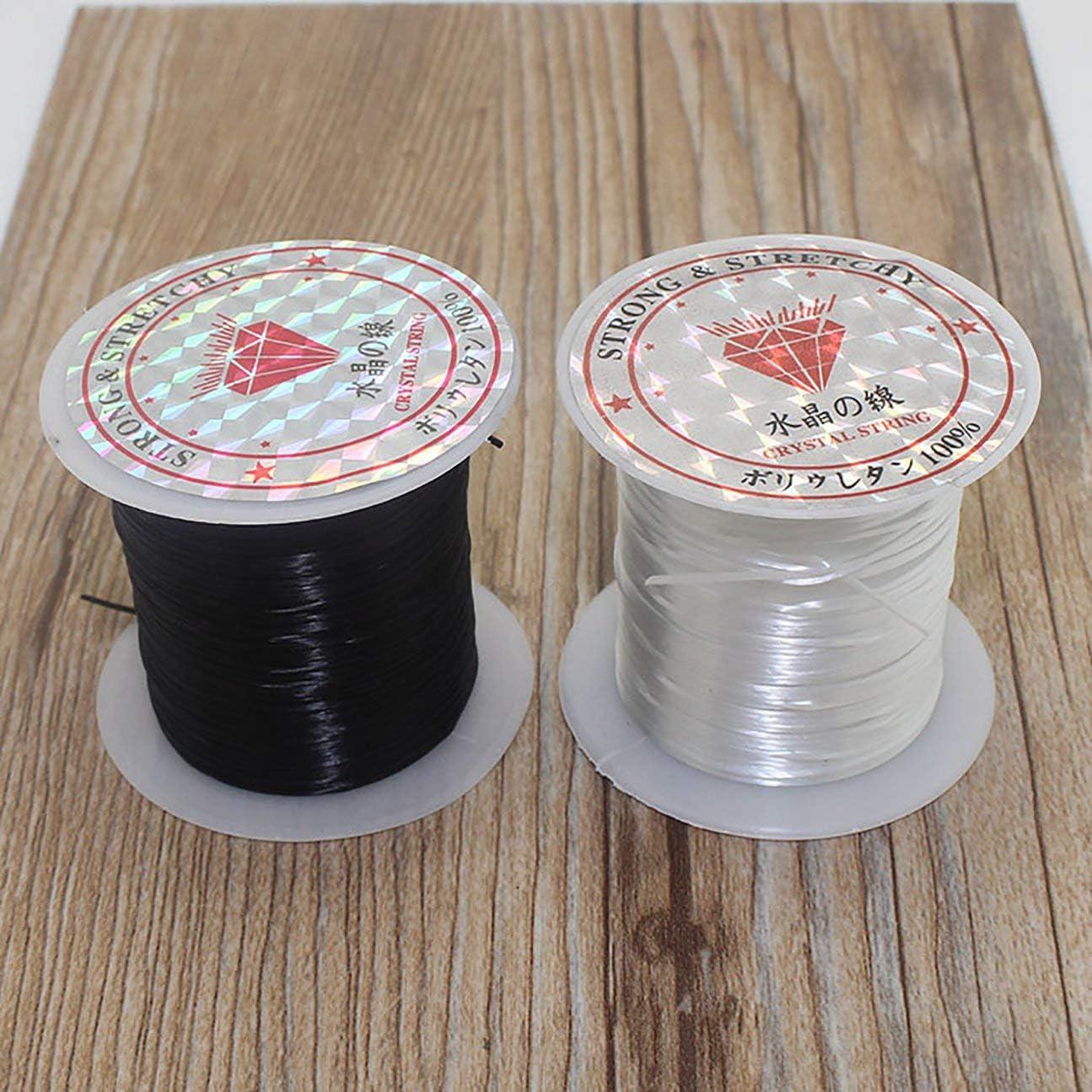 couleur: noir MachinYesell 40 m 43 verges plat /élastique cristal Stretch String cordon en polyester pour la fabrication de bijoux Bracelet perles fil artisanat accessoires