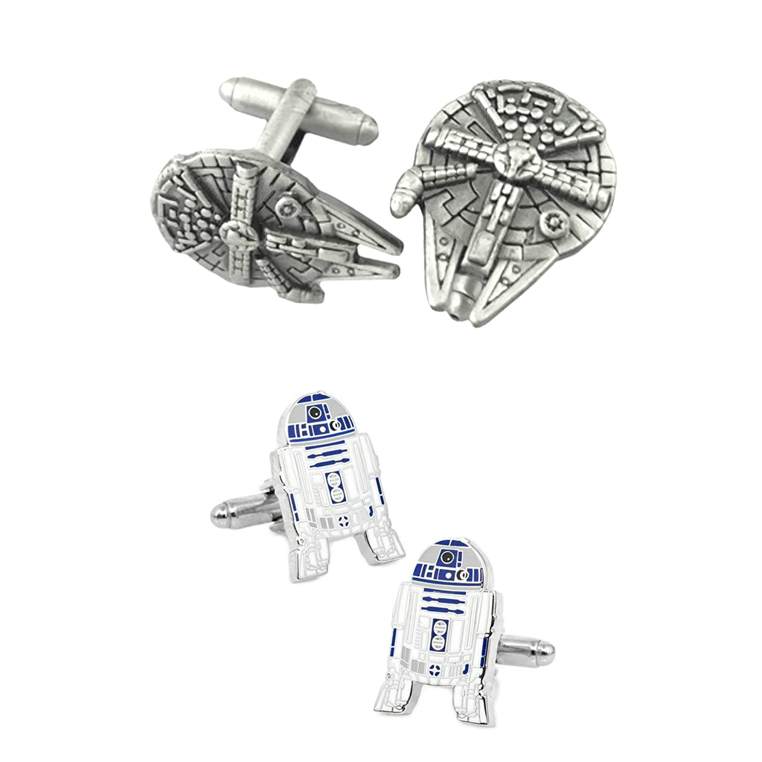 Outlander Gear Star Wars 2 Pairs Millenium Falcon & R2-D2 Superhero 2018 Movie Logos - Wedding Groom Groomsmen Mens Boys Cufflinks