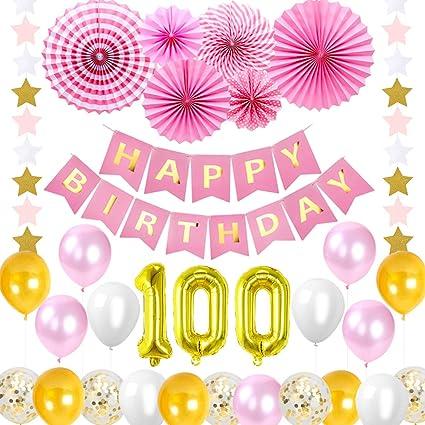 Happy 100 Decoraciones de cumpleaños, suministros de color ...