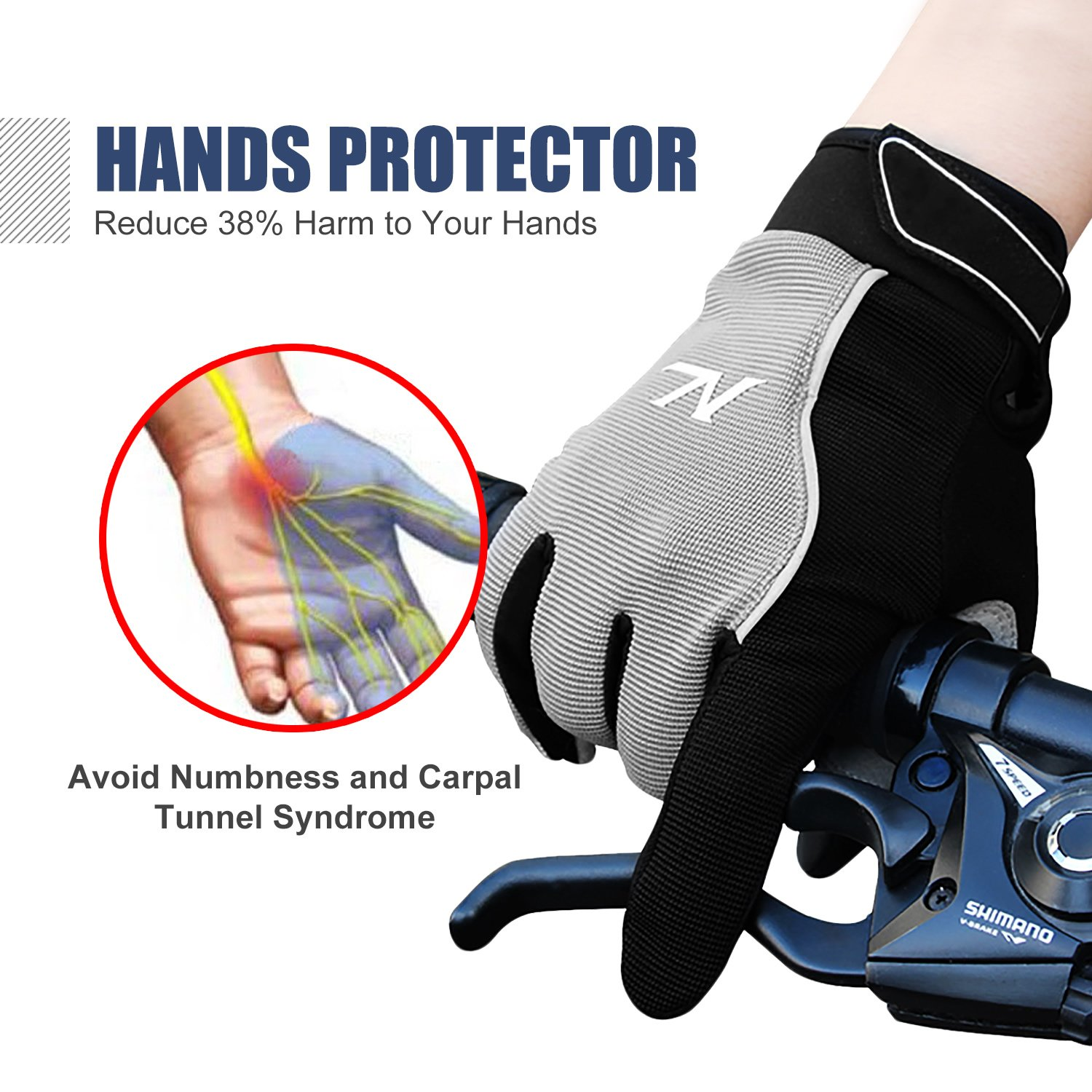 Motorcycle gloves to prevent numbness - Amazon Com Outdoor Sports Bicycle Gloves Full Finger Motorcycle Motorbike Riding Mesh Glove Warm Protection Windproof Racing Fashion Anti Slip Breathable