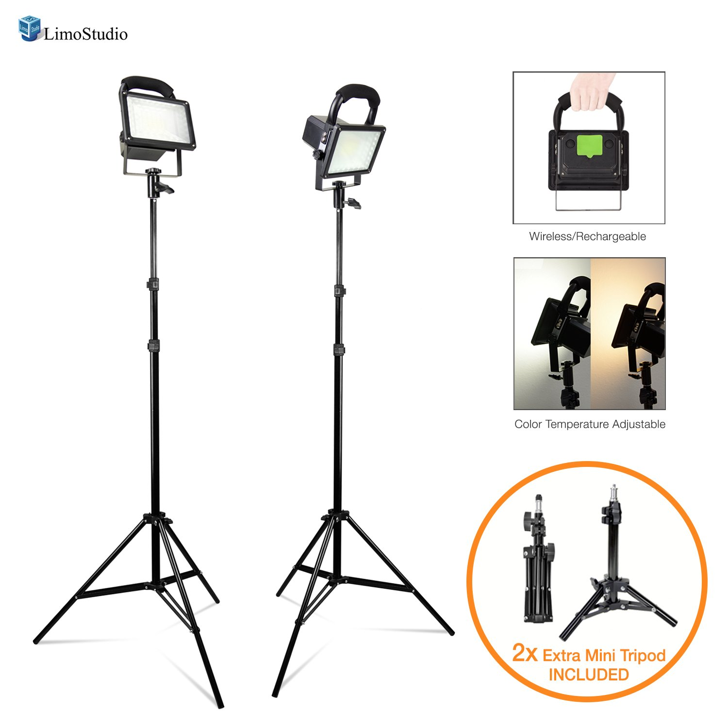 """LimoStudio [Set of 2] Portable Wireless 30W LED Spotlight Flood Lighting Kit with 17'' Table Top Accent Light Stand, 86"""" Light Stand Tripod, and Rechargeable Battery for Photo Video Studio, AGG2727"""