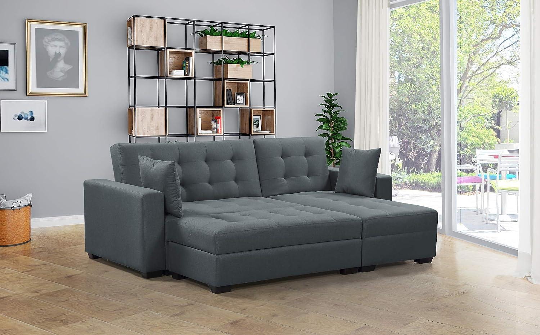 Amazon.com: BroyerK 3 piezas Reversible Sleeper Seccional ...